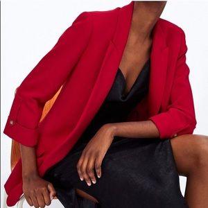 Zara Red Blazer with Button Sleeves - Like New!!
